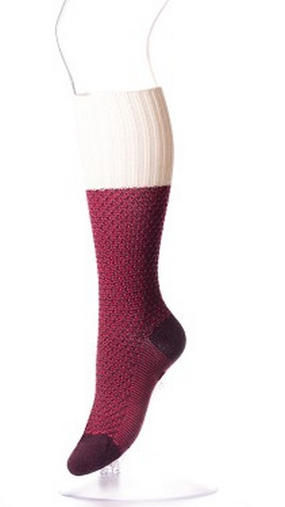 chaussette femme rouge vin en laine