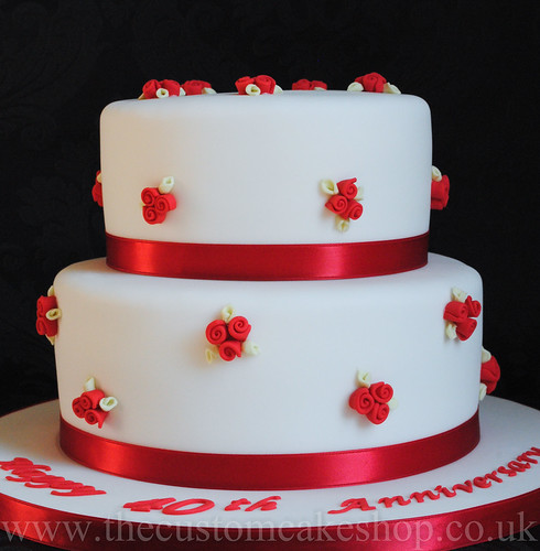 40th Ruby Wedding Anniversary Cake | by thecustomcakeshop