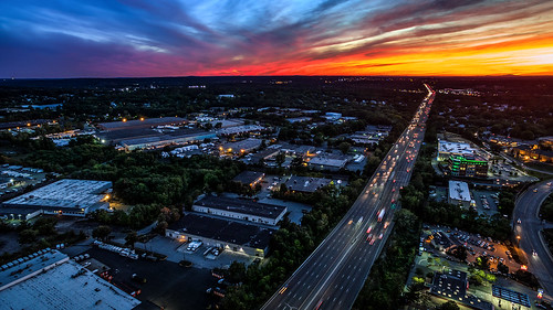 drone dji phantom woburn boston massachusetts sunset new england