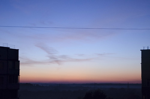 evening sunset sky clouds city autumn