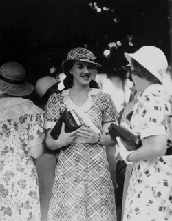 Wearing a matching hat and dress, Miss J. Norris attended the Ascot Races, Brisbane, 1933