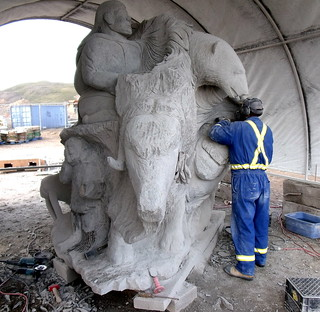 Iqaluit's monumental stone sculpture, in progress | by subarcticmike