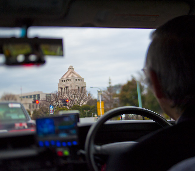 Japanese capital building from a cab