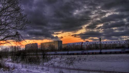 winter sunset snow lines night train dark denmark evening track january tracks trains late hdr aarhus bestcapturesaoi mokastet