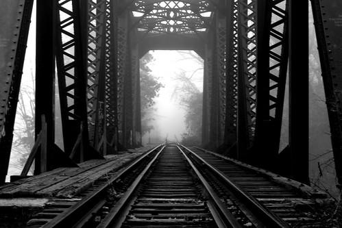 railroad bridge blackandwhite bw mist misty fog canon newengland newhampshire penacook ef28135mmf3556isusm