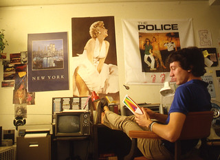 Student studying in his dorm room in 1990