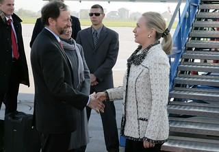 Secretary Clinton Shakes Hands With Ambassador Moon