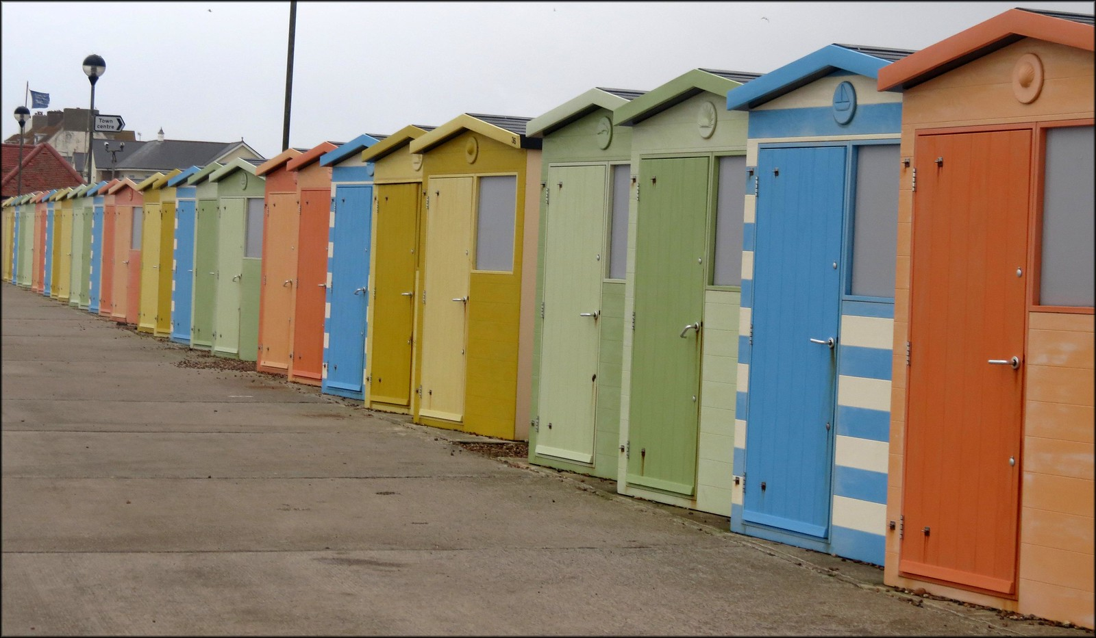 Beach huts on Seaford sea front