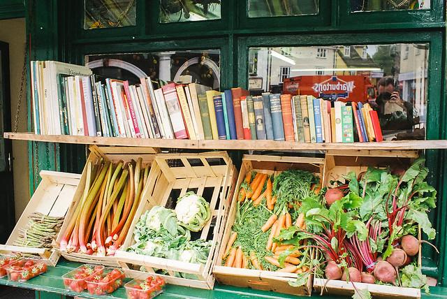 Books andd veg self portrait