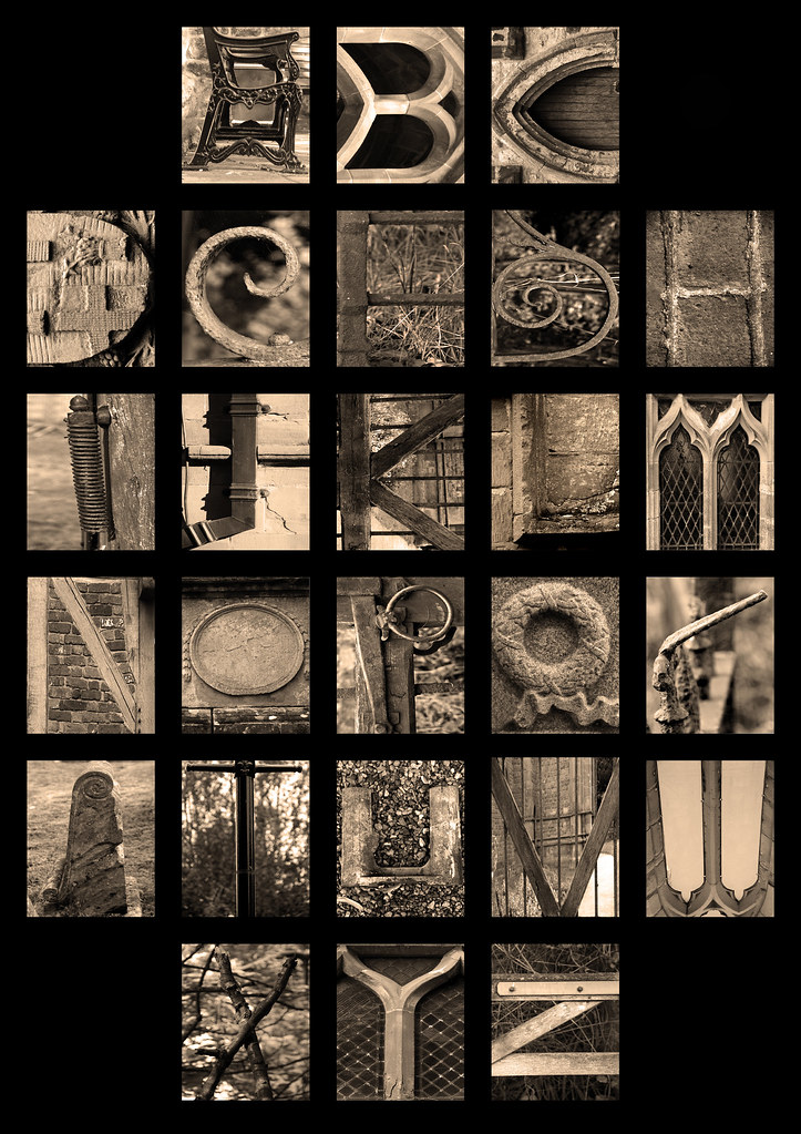 Letter Made Out Of Objects.Alphabet Letters Of The Alphabet Made From Objects Found A
