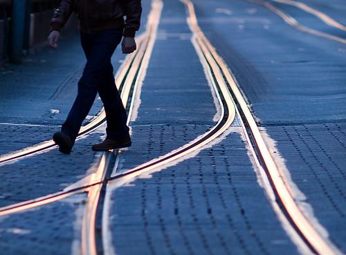 blue sunset gold tram cobblestones cobbles darmstadt rheinstrasse