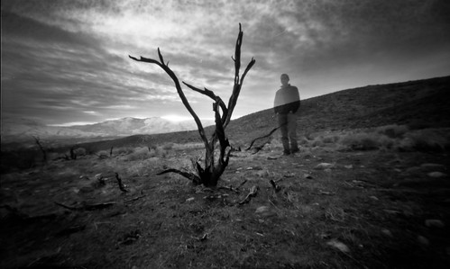 white selfportrait black landscape image pinhole 6x9 medium format zero