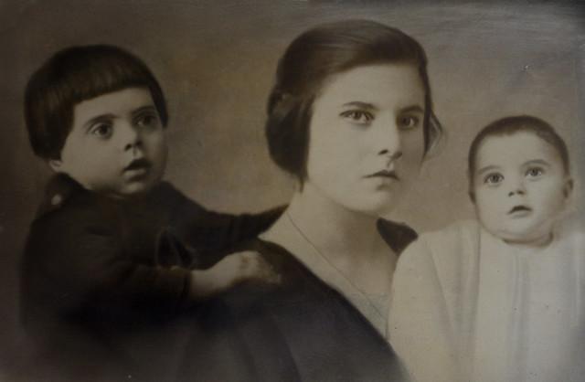 Lena with children, 1920's, Italy