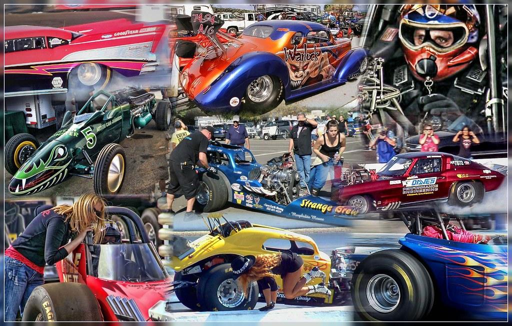 Bakersfield Drag Strip Collage - Famoso Raceway   BYRON