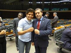 com  a atleta Adriana Araújo no plenário da Câmara ela foi  a primeira brasileira a vencer uma luta do boxe feminino em Olimpíadas e a primeira a ganhar uma medalha na modalidade