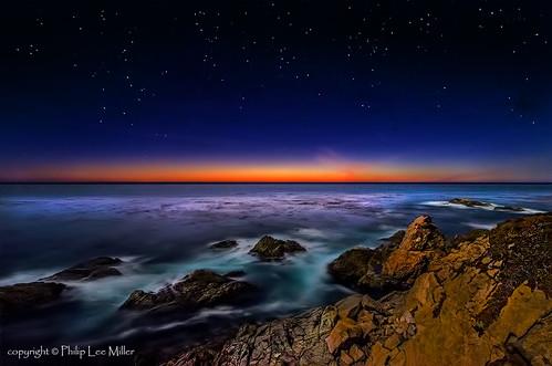 california sunset seascape stars landscape bigsur pacificocean pacificcoast longexpsoures d7000 garrapatastatereserve