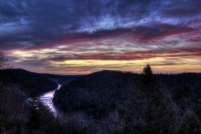 Cumberland River sunrise, Cumberland Falls State Resort, McCreary County, Kentucky 1