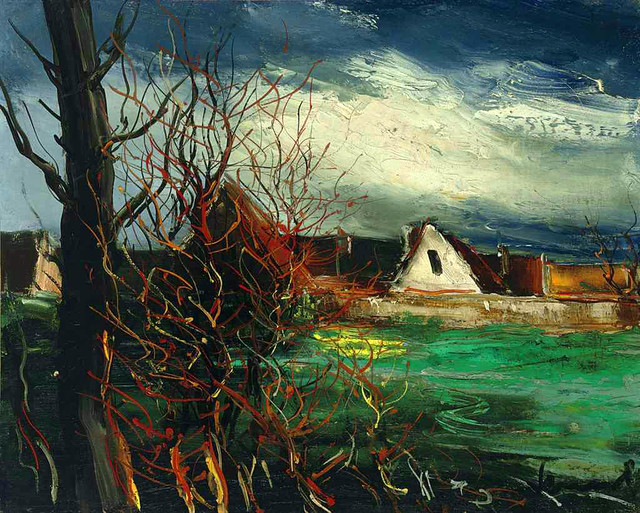 Vlaminck,  Maurice de  (French, 1876-1958)  - The Farm House with the Trees  - s.d.