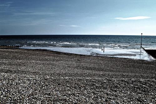 england sussex sea sky blue beach pier walking trip travel horizon cold dark contrast eastbourne
