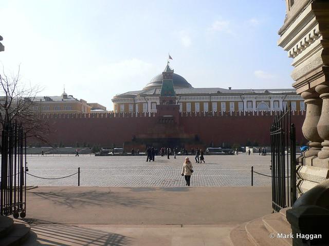 The Lenin Mausoleum and Kremlin from the GUM Shopping Centre