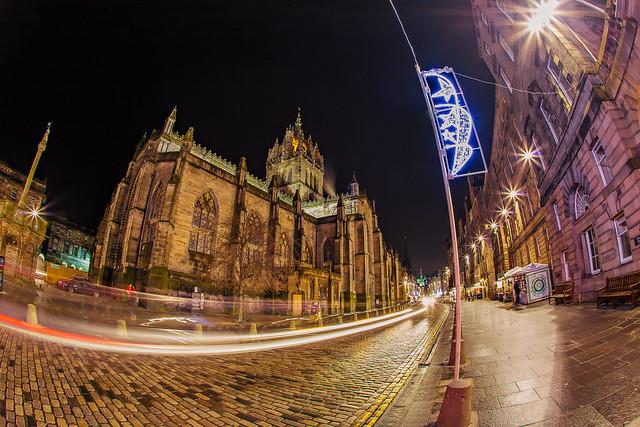 St. Giles at night, the Royal Mile, Edinburgh, Scotland