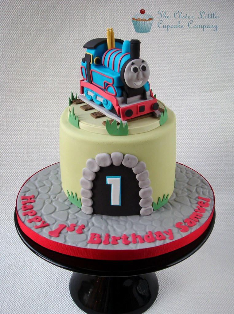 Pleasant Thomas The Tank Engine Cake 1St Birthday Cake Chocolate C Flickr Funny Birthday Cards Online Elaedamsfinfo