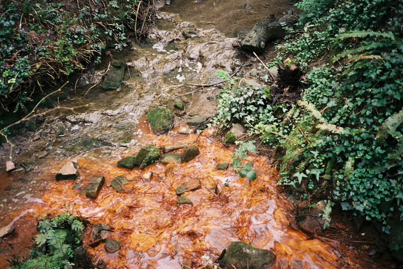 The red stream joins Coombe Brook