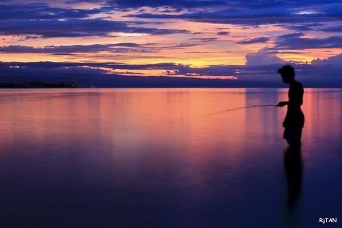 sunset sea boat fishingboat 185