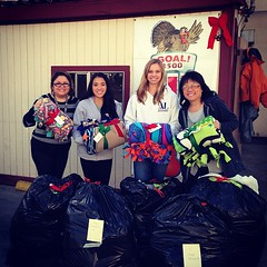 3 wonderful volunteers from Assistance League Fresno dropping off 50 handmade blankets to the Poverello House!