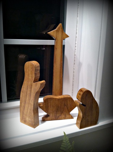 primitive wooden nativity set