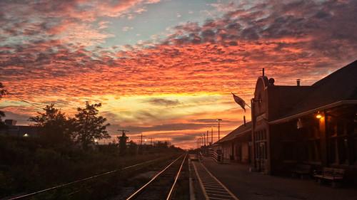 canada ontario paulboudreauphotography niagara photoshopcc layer colour samsung samsunggalaxy4s sghi337m photomatix trainstation tracks rails sunset clouds sky stcatharines