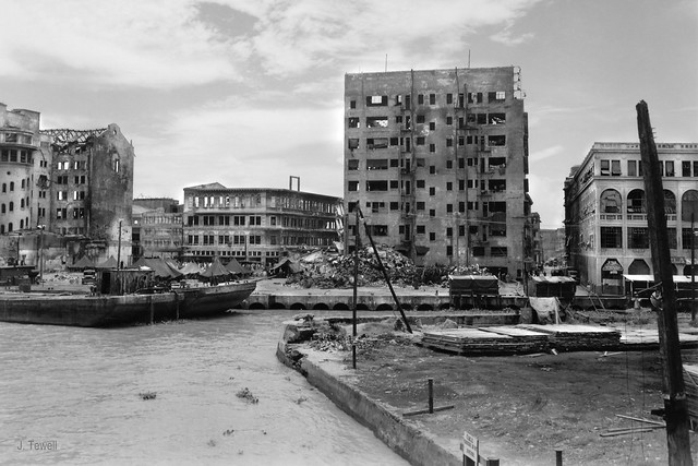 North side of the Pasig River from just west of the Sat Cruz Bridge, Manila, Philippines, 1945