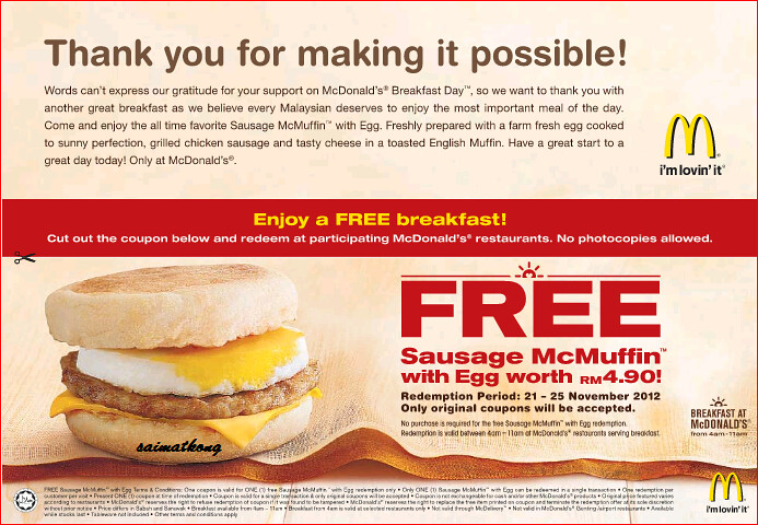 McDonald's Giving Away FREE McMuffin with Eggs! McDonald's… | Flickr