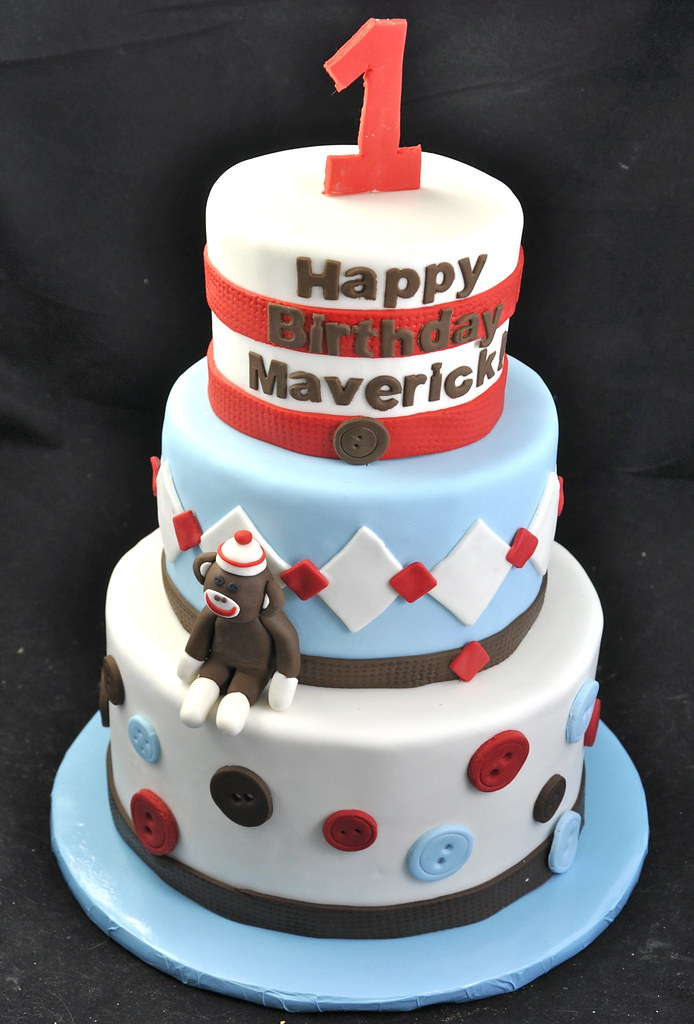 Pleasant Sock Monkey Cake 1St Birthday Cake With A Hand Made Sock M Funny Birthday Cards Online Barepcheapnameinfo