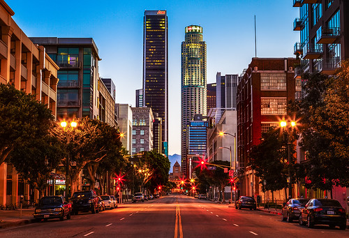 california sunrise losangeles downtown naturallight bluehour dtla downtownlosangeles librarytower 2470mm canon7d ©shabdrophoto