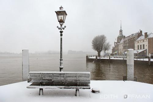 city trees winter snow cold water netherlands bench landscape bomen sneeuw nederland bank dordrecht lantern stad landschap koud zuidholland lantaarn southholland wolwevershaven groothoofd nikond700 edithhoffman uitzichtzwijndrecht viewzwijndrecht