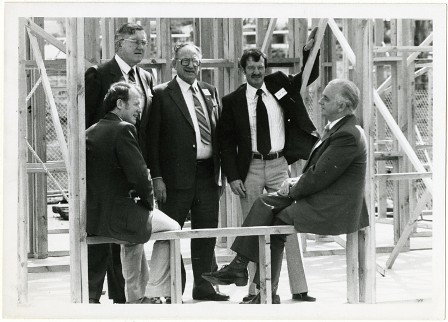 IMAGE - Photograph - AWDC - five men in house under construction c1981 - ARM 10.700.47