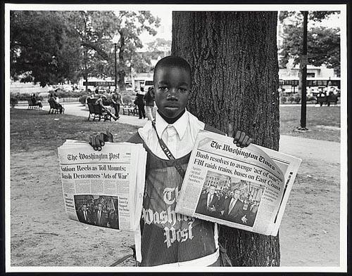 Newsboy, Farragut Square, Washington DC, September 13, 2001.