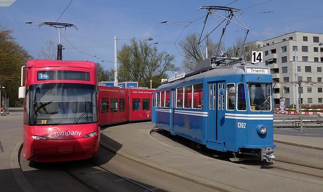 Tram Museum Zürich -  Ce 4/4 1392 in der Wendeschleife Seebach  10. April 2016
