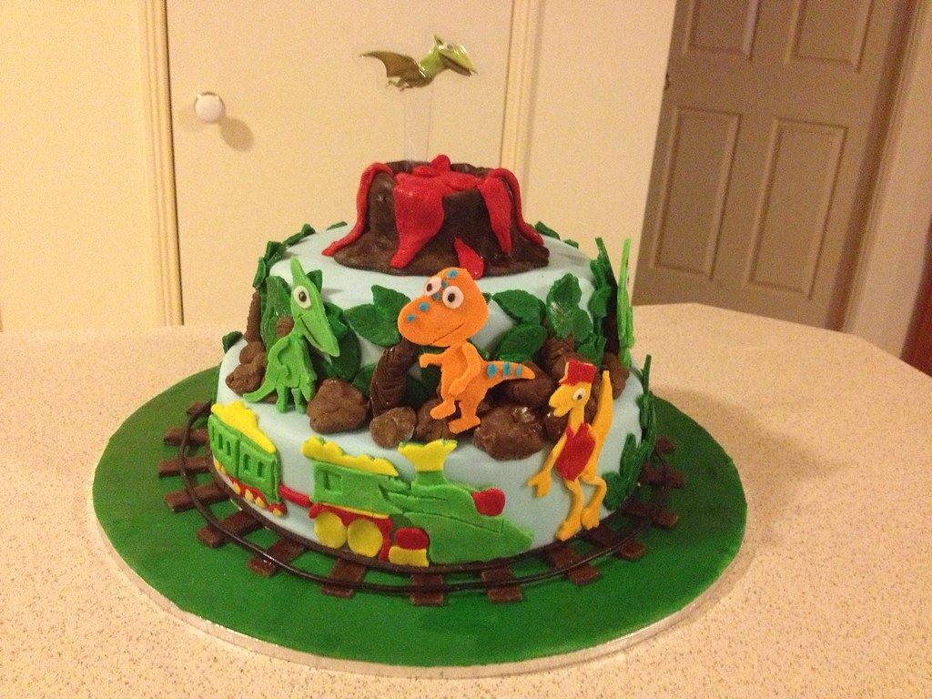 Fabulous Dinosaur Train Themed Birthday Cake Dinosaur Train Themed Flickr Personalised Birthday Cards Veneteletsinfo