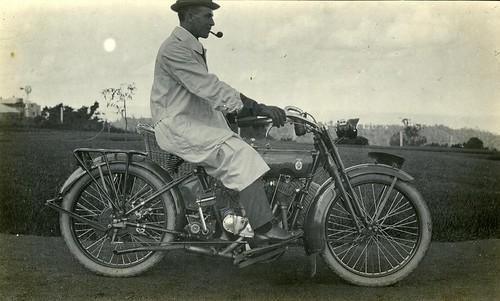 statelibraryofqueensland motorcycles motorbikes johnoxleylibrary queensland automobile edwinbernays harley coat smoking pipe historic slq toowoomba harleydavidson dustjacket vintagemotorbikes vintagemotorcycle windmill sepia profile hat watertap trees
