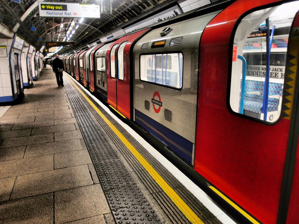 London Underground Victoria Line Train at Victoria Station (Southbound) London.