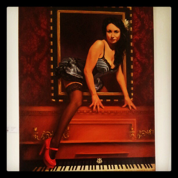 A Graeme Balchin masterwork at the SOHO Gallery Kings Cross. #art #artwork #painting #oilpainting #artist #artistic #creative #piano #burlesque #cabaret #sexy #woman #girl #lady #corset #redheels #frame