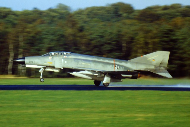 F-4F Phantom-II 37+67 Jagdgeschwader-71, Luftwaffe/ German-Air-Force/ GAF. Soesterberg Air-Base, Netherlands. 31 July 1985. (Scanned from dia)