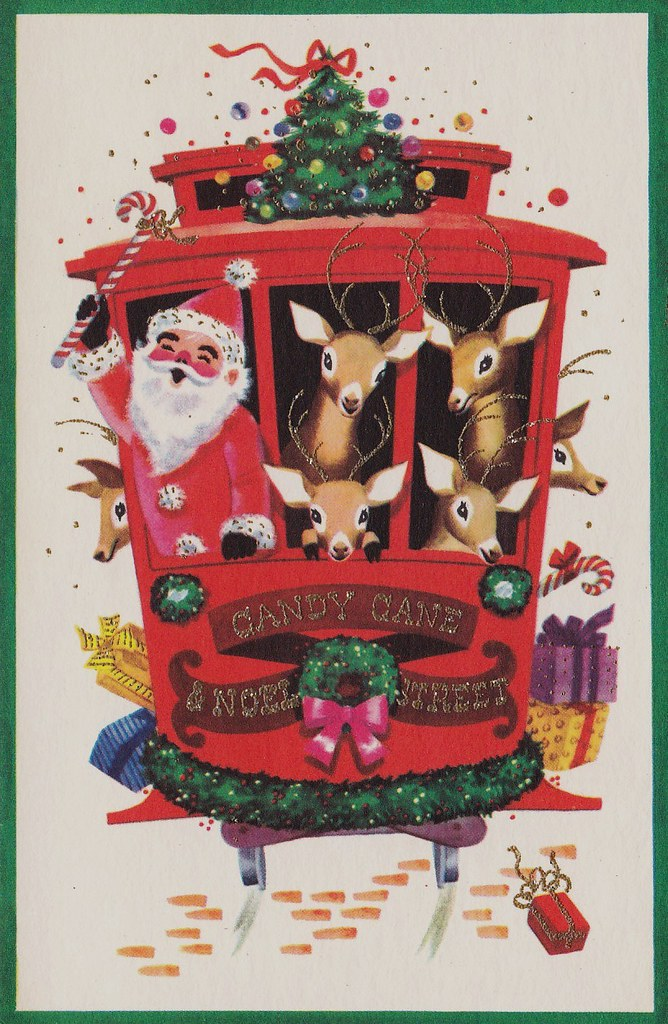foto de Vintage Christmas Card - Cable Car - Candy Cane and Noel S… | Flickr