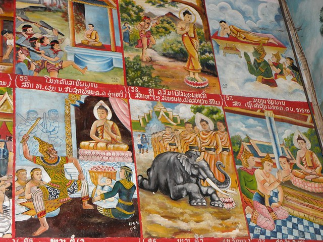 Pictures in a temple in Luang Prabang, Laos