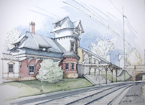 railroad november autumn brick tower fall philadelphia station architecture illustration facade train pen ink watercolor frank james sketch colorful publictransportation view pennsylvania drawing details hill bracket shingle perspective victorian tunnel landmark historic line ornament lane chestnut septa curved dibujo vignette turret rendering dormer loggia pleinair furness gravers fieldstone anzalone urbansketchers