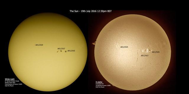 Full Disc Sun in White Light & H-alpha 19/07/16 12:30pm BST