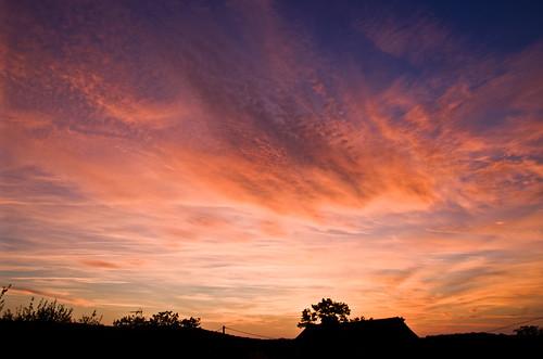sunset sky ciel clouds nuages crépuscule soir
