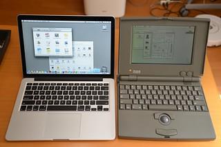 MacBook Pro Retina 13inch and PowerBook 100 | by raneko